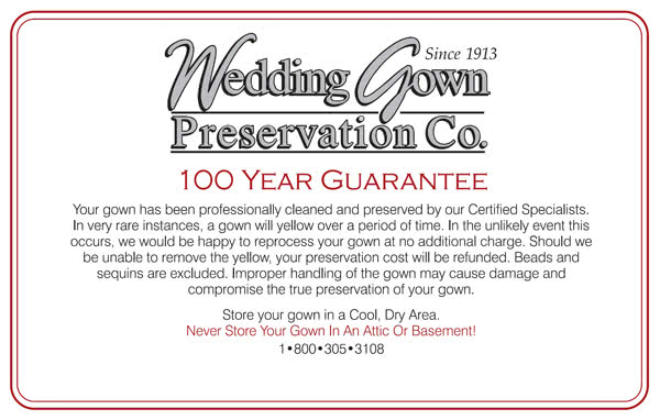 Wedding Gown Preservation Kit Guarantee