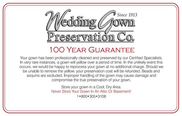 100 year wedding dress preservatoin anti yellowing guarantee for Wedding dress preservation kit