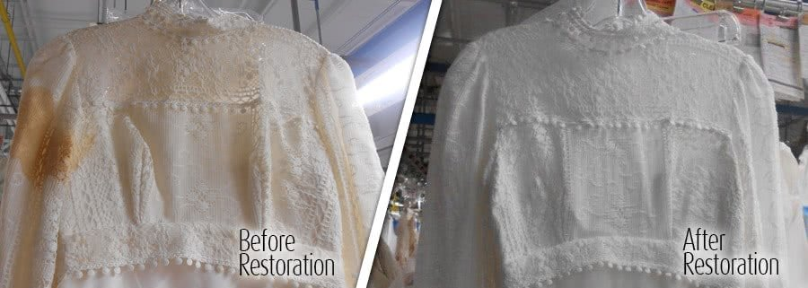 Before and after restoring a brides gown