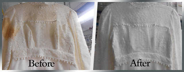Wedding Gown Restoration Kit Before & After
