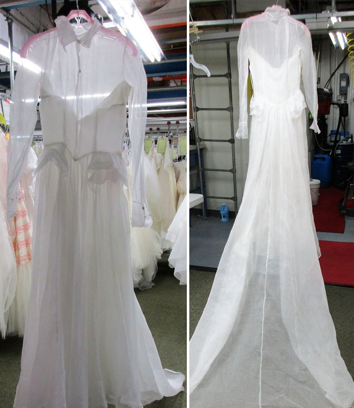 vintage wedding gown restoration after