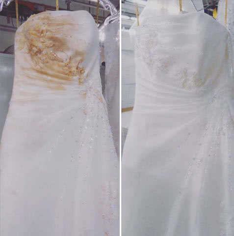 Before after wedding dress restoration gallery for Bride dress after wedding