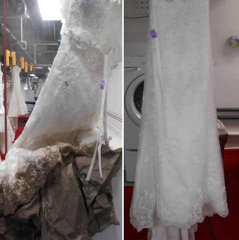 soiled wedding gown before and after restoration
