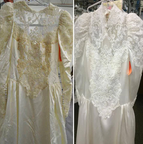 Wedding Gown Restoration - Yellowed