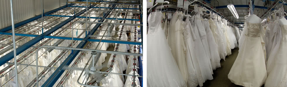wedding gown racking system