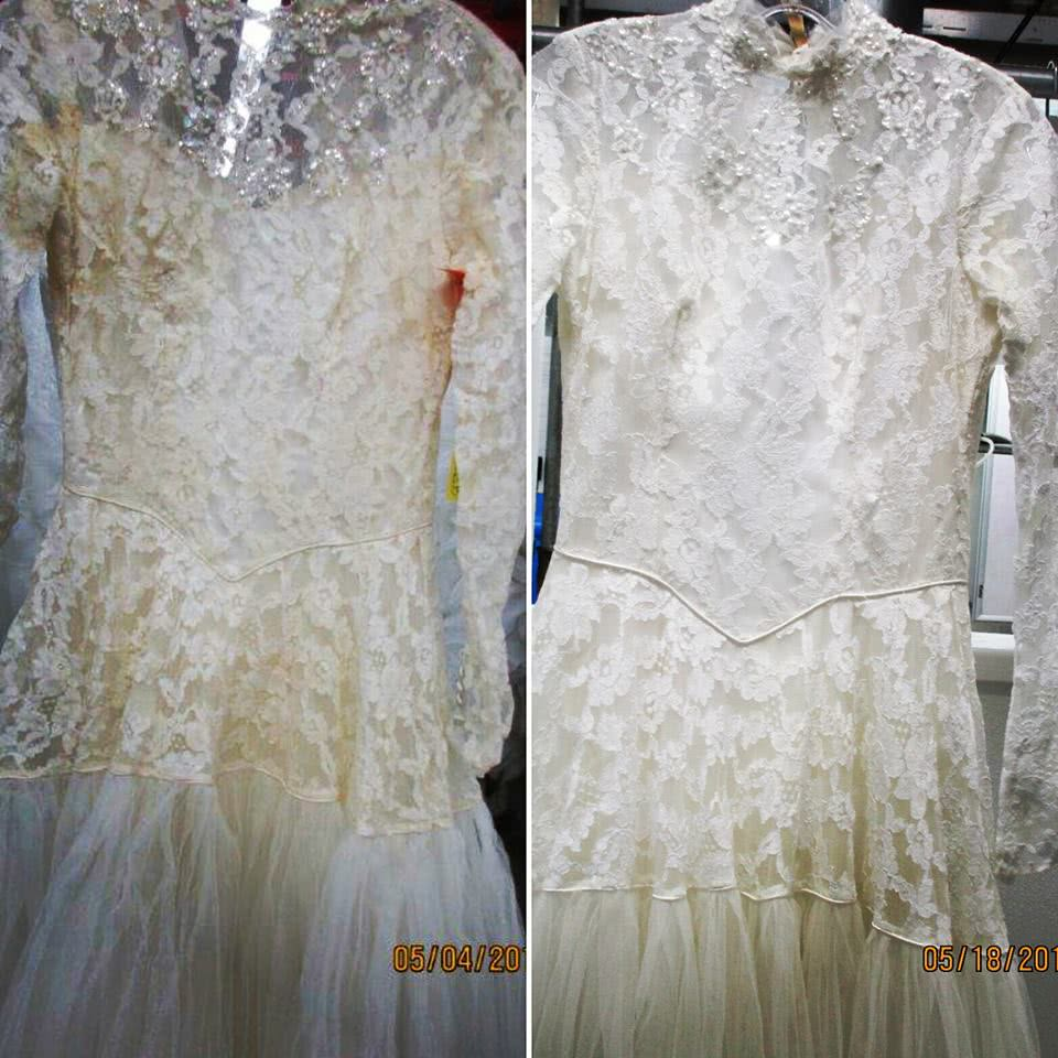 Yellowed Wedding Dress Restored