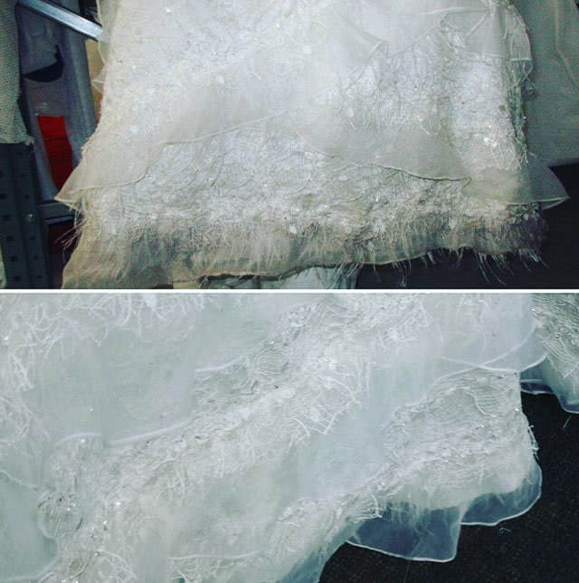 Wedding Gown Restoration - Mud Hem Feathers