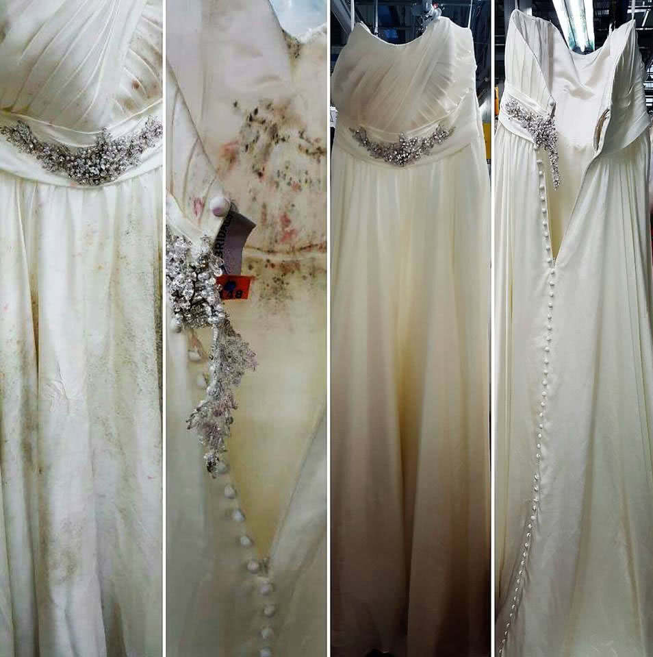 moldy wedding gown before and after restoration