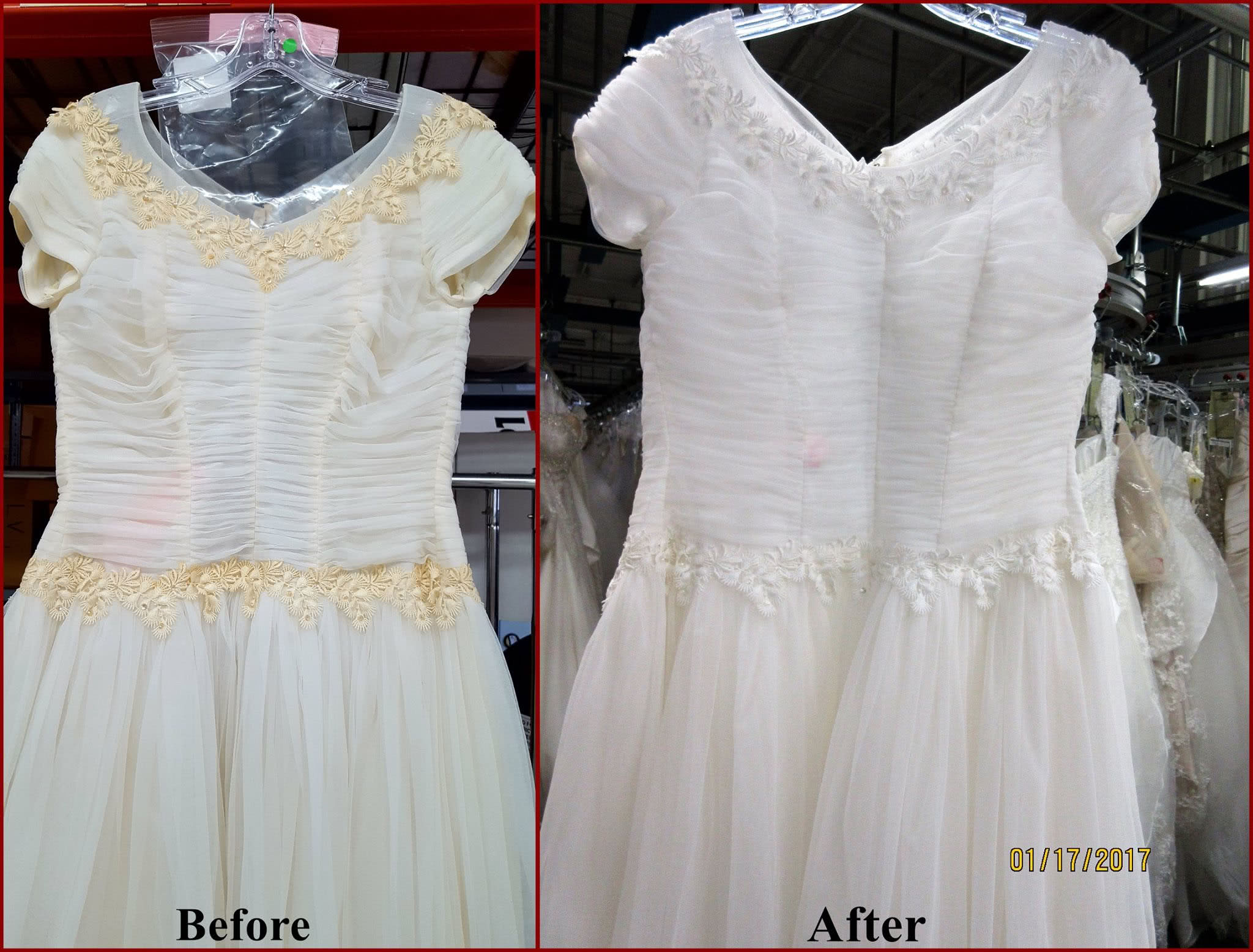 Yellowed wedding dress adornments restored to white