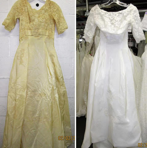 Wedding dress restoration - Yellowing