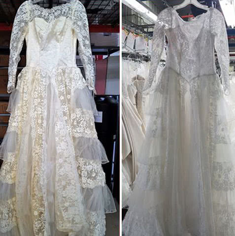 wedding gown before and after restoration