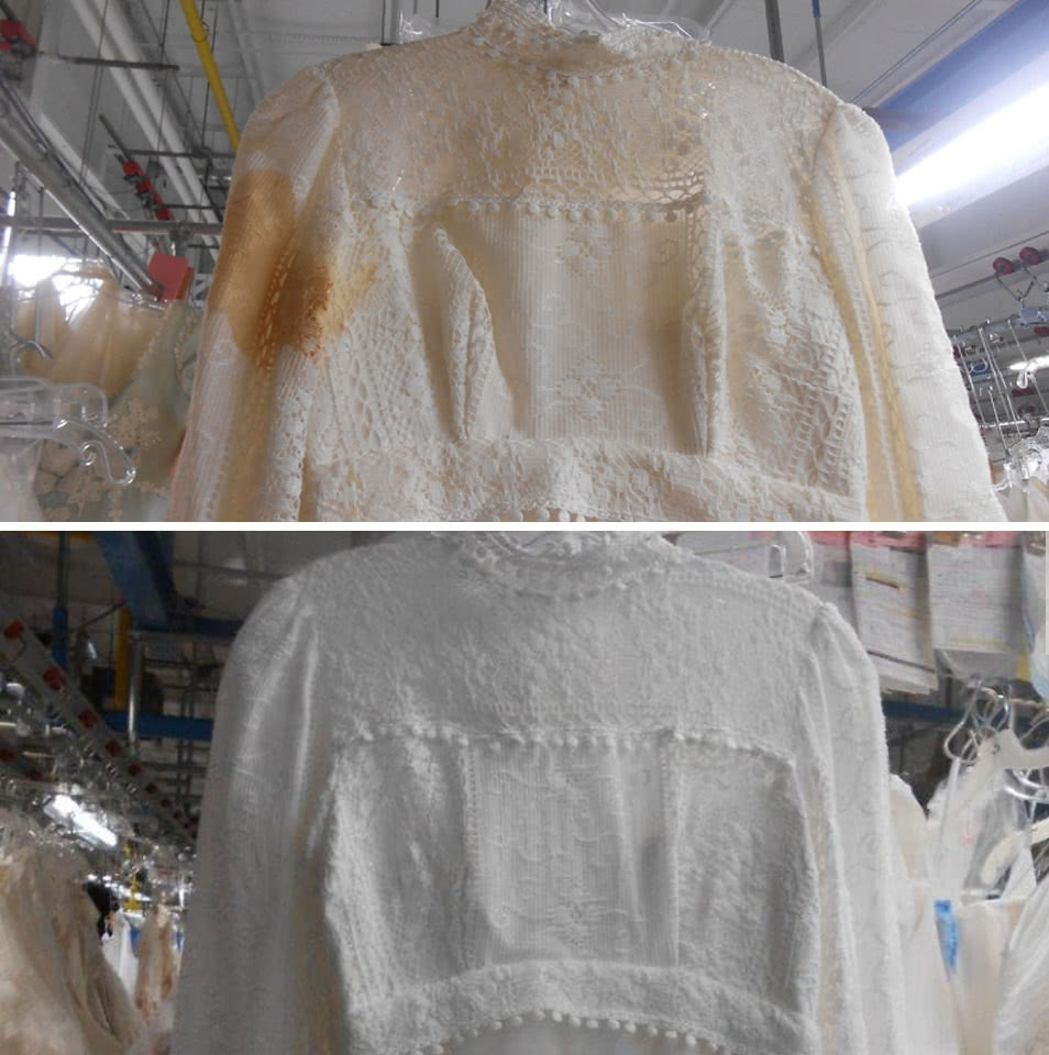 Wedding Gown Restoration - Yellowed Stained