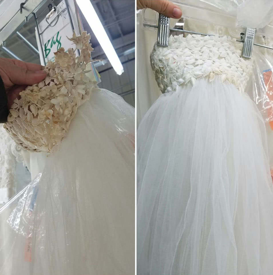 Wedding gown restoration - adornments