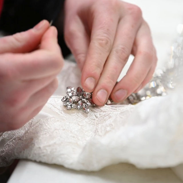 preserving embellishments on a vintage wedding gown