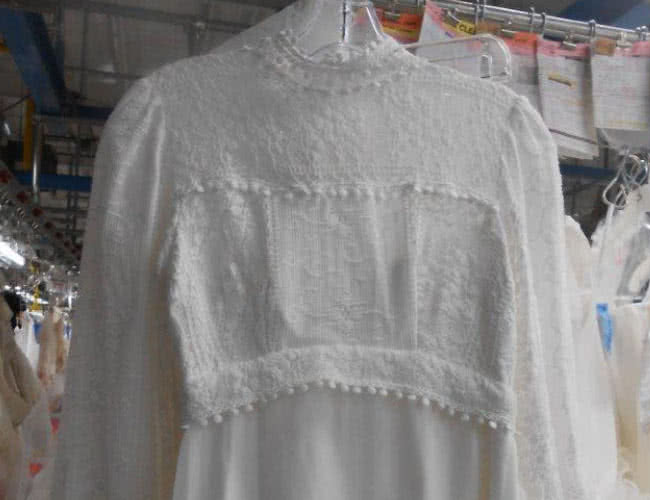 yellowed wedding dress after cleaning