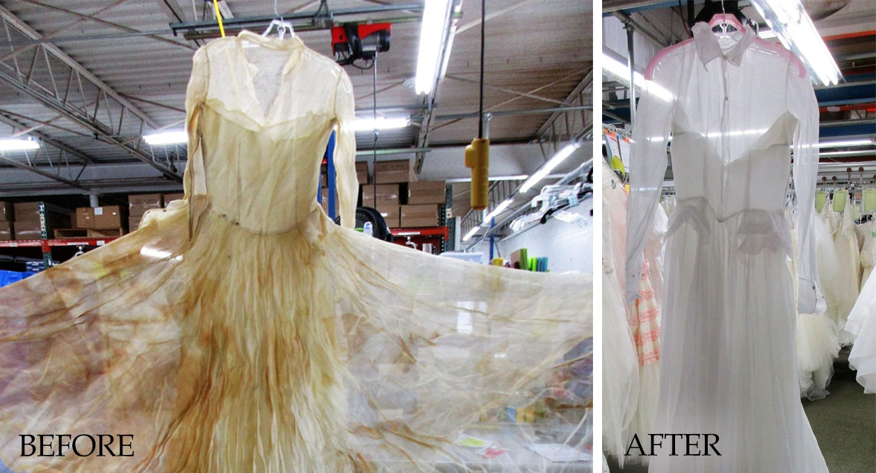 how to clean a yellowed wedding dress