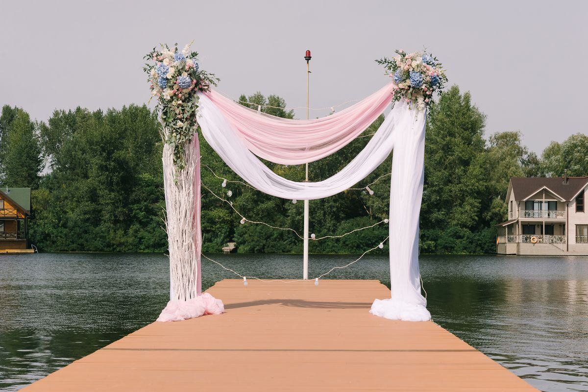 zoom virtual wedding lakeside dock background image