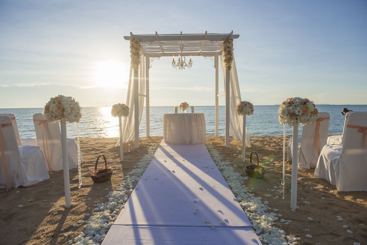zoom virtual wedding oceanside beach background image